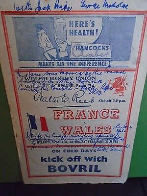 Wales v France Rugby Programme 1948  match played in Swansea