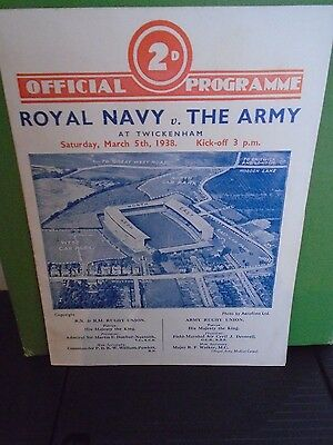 Royal Navy v The Army Rugby Programme 1938