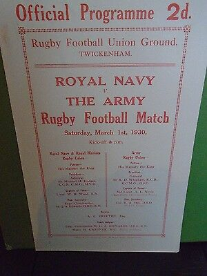 Royal Navy v The Army Rugby Programme 1930