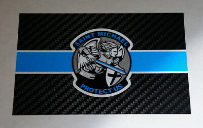 Tactical Carbon Fiber St. Michael Reflective Thin Blue Line Police Sticker Decal