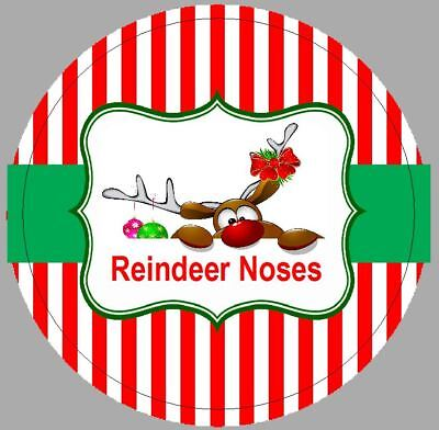 24 x 40mm Stickers Round Reindeer Noses Christmas Red Stripe Labels NOT Personal