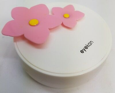 Pink Flower Coloured Contact Lens Lenses Travel Kit - Mirror - Case - Tweezers