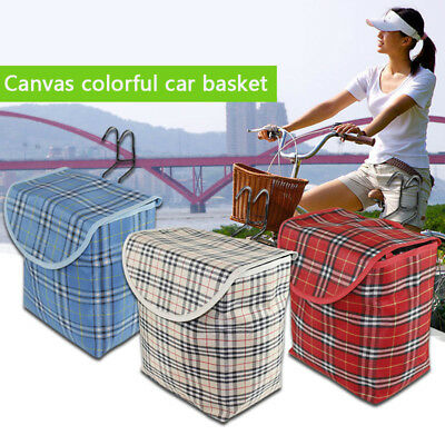 2017 Front Handlebar Bicycle Portable Fold-up Metal Canvas Bike Basket with Hook