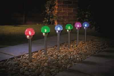 6 Packs Multi-colored changing Stainless Steel Crackle Ball Solar Garden Lights