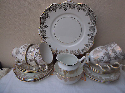 21 Piece gold chintz  teaset / Part Royal Vale Made in England Porcelain / china
