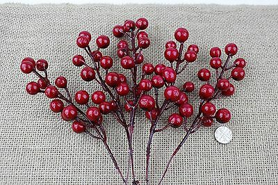5x Red Artificial Holly Berries On The Branch - Christmas, Decoration, Wreath