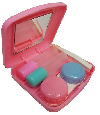 Pastel Pink Mini Coloured Contact Lens Lenses Travel Kit - Mirror Case Tweezers