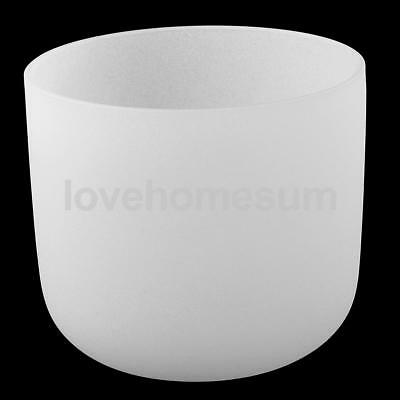 Crystal Singing Bowl D Note for Sacral Chakra Frosted Quartz 7 Inch White