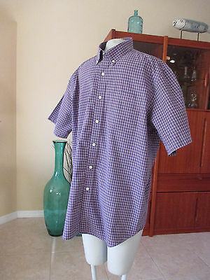 Ll bean vintage style blue red plaid metal button long for Ll bean wrinkle resistant shirts