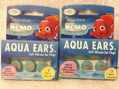 Lot Of 2 Disney Pixar Finding Nemo Aqua Ears Soft Silicone Ear Plugs With Case