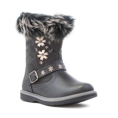 Walkright Girls Grey Flower Fur Top Calf Boot - Sizes 6,7,8,9,10,11,12,13,1,2