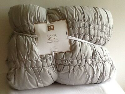 Pottery Barn Teen Ruched Quilt Gray Twin  New