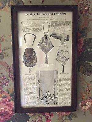 ANTIQUE FRAMED ARTICLE ON PURSES BEAD EMBROIDERY BEAUTIFUL BAGS c1900