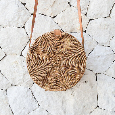Round Rattan Bali Basket Bag Handmade ATA Crossbody Shoulder Handbag US SELLER!
