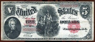 1907 $5 United States Note Fr. 90, Woodchopper Legal Tender