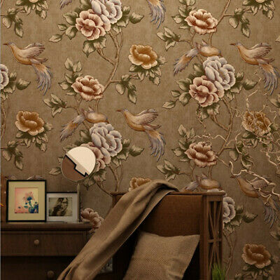 Vintage Country Flower Bird Patterned Wallpaper Rolls Mural Decorations-3 colors