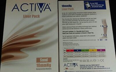 Compression Stockings Liner Pack sand open toe Activate  1X3 Pack SIZE XL