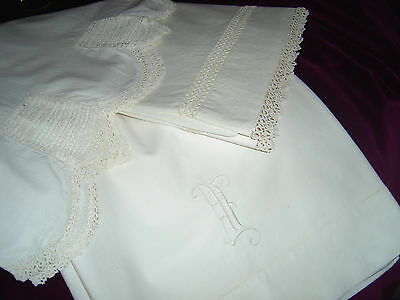 Bed Linens: Tatted Hemstitched Monogrammed Crocheted Flat Sheets/ Pillow Cases