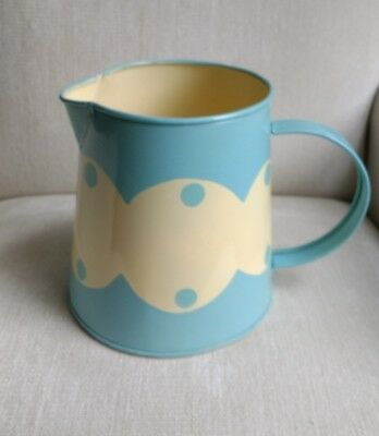 Laura Ashley duck egg blue, cream Metal Jug, large, vintage / retro