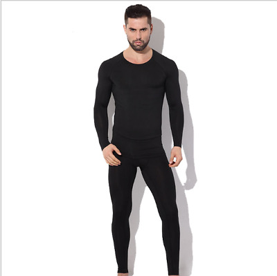 Men's Heat Control Base Layer Top & Bottom Skin Fit for Sports Gym Ski Work