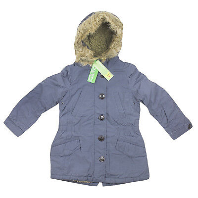 Girls Parka Coat Fully Lined Hooded Rrp £50 Grey Benetton 3-14 Years Brand New