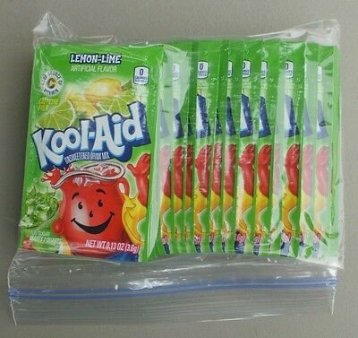 20 packets of KOOL-AID drink mix: LEMON-LIME flavor, powdered, UNSWEETENED