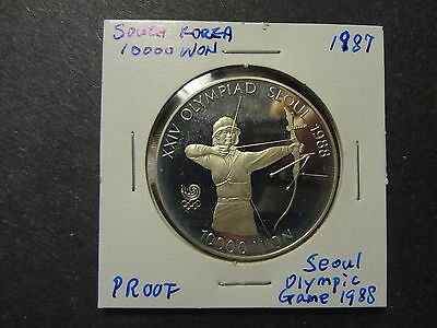 "South Korea 1987 Proof Silver 10000 Won "" 1988 Olympic, Bow """