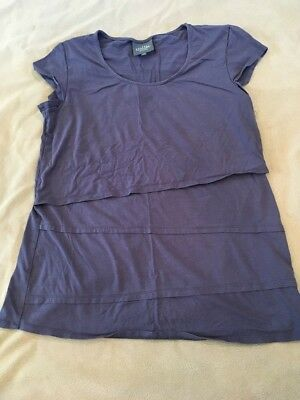Milk Nursing Top Medium Womens Short Sleeve Blue Grey Breastfeeding