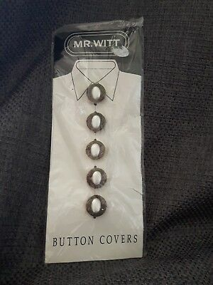 MR. WITT Vintage Antiqued Brass & Pearl Round Button Covers Carded plastic pkg 5