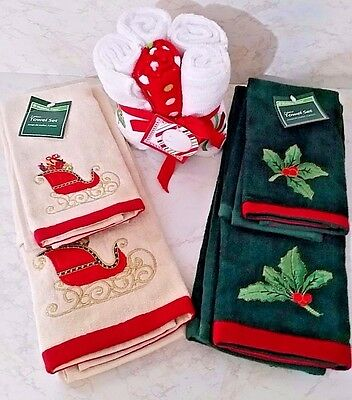 Christmas Towel Sets & Washrags-2 Sets Hand/Finger Towel/1 Set Of 5 Washrags-NWT