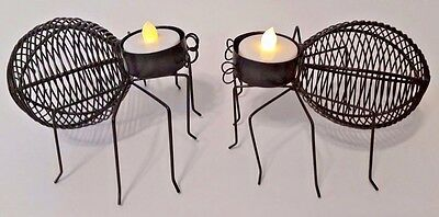2 Black Halloween Spiders Metal Wire Spider Tealight Holder W/LED Tealight - New