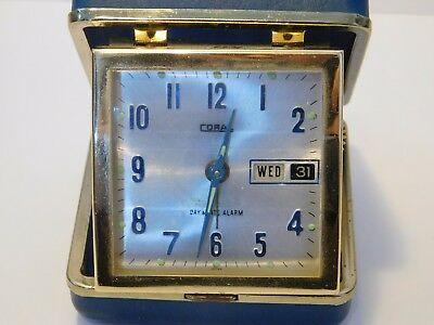 Coral Vintage Travel Clock Day and Date