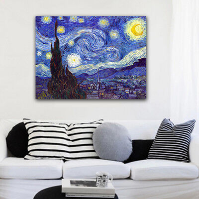 Large Canvas Print Van Gogh Painting Repro Home Decor Wall Art Starry Night