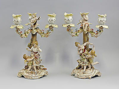 Candle holders Pair small Magnificent chandeliers with Figures  9937869-dss
