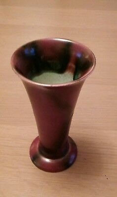 Vintage Bretby art pottery trumpet vase. Wine colour with a drip black effect.