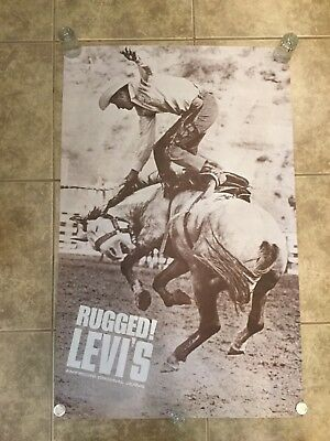 Vintage Levis Jeans Rugged Jeans Advertising Poster 1960s