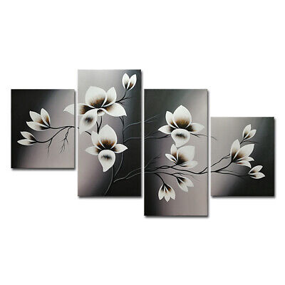 Original Hand Paint Canvas Oil Painting Wall Art Home Decor Abstract Floral Gray