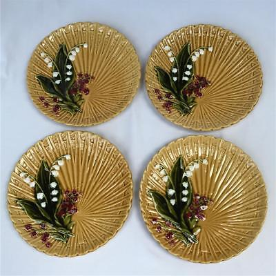 Set of 4 Antique Schramberg Majolica Factory Lily of the Valley Plates Germany