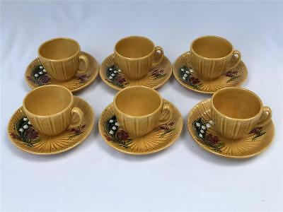 6 Antique Schramberg Majolica Factory Lily of the Valley Cups & Saucers Germany