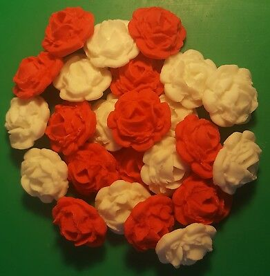 24 Edible Large White & Red roses flowers cupcake cake toppers wedding