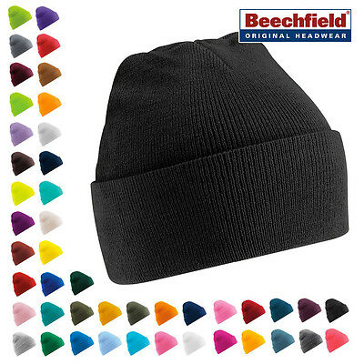 Mens Ladies Wooly Knitted Supersoft Beechfield Turn Up Beanie Hat Winter Skiing