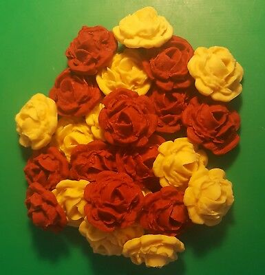 24 Edible Large Honey Gold & Ruby Red roses flowers cupcake cake toppers wedding