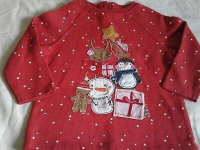 Girls Next Red Christmas Top Age 9-12 months