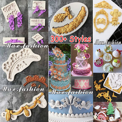 Retro Scroll Relief Borders Silicone Cake Topper Fondant Mold Sugarcraft Mould