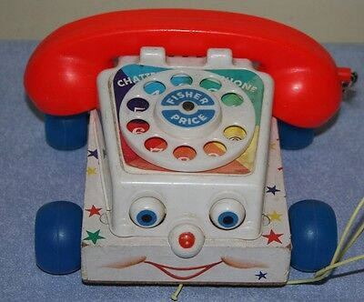 Vintage 1961 Fisher Price Chatter Box Telephone Phone Pull Toy #747 Wood Base
