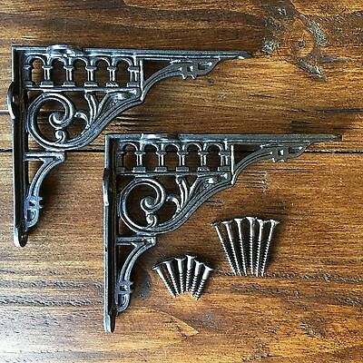 "Pair Pewter 6"" x 5"" ANTIQUE CAST IRON VICTORIAN SHELF WALL BRACKETS - BR12px2"