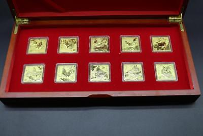 10pcs Chinese Zodiac 2017 Year of The Rooster  24k Gold Plated Coin 30mm*30mm