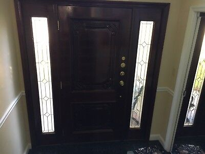 Grand entry front door - all wood with etched glass sidelights