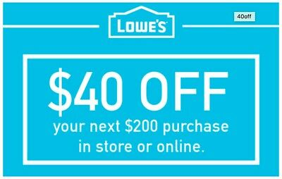 One (1x) Lowes $40 Off $200 Coupon (Instore & Online) Exp 10/30 lnstant Delivery