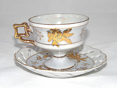 Vintage Napco Bone China Coffee Tea Cup Saucer Set Light Purple Gold Floral